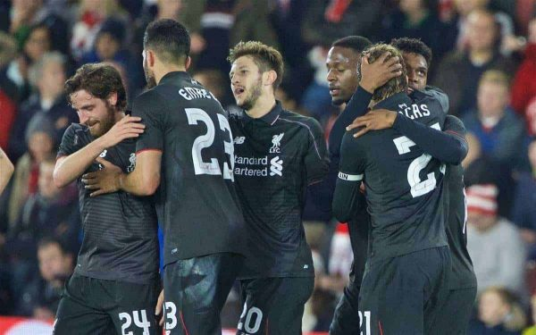 SOUTHAMPTON, ENGLAND - Wednesday, December 2, 2015: Liverpool's Daniel Sturridge celebrates scoring the second goal against Southampton during the Football League Cup Quarter-Final match at St. Mary's Stadium. (Pic by David Rawcliffe/Propaganda)