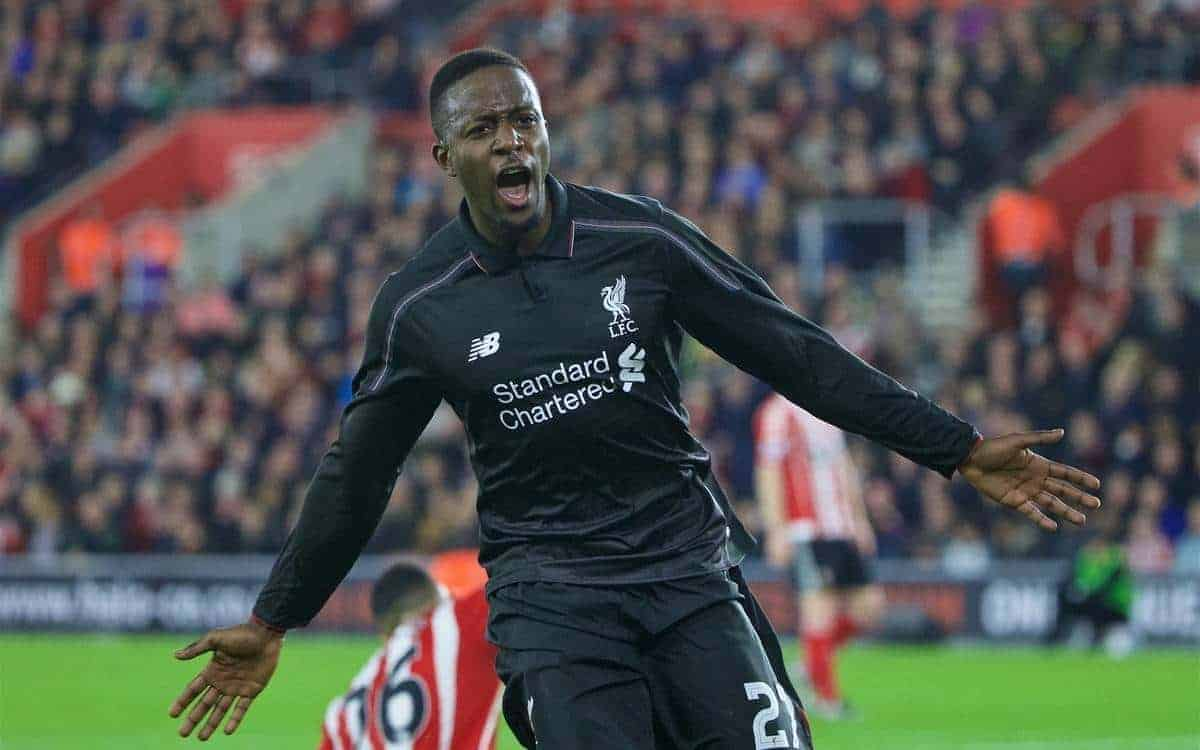 SOUTHAMPTON, ENGLAND - Wednesday, December 2, 2015: Liverpool's Divock Origi celebrates scoring the fourth goal against Southampton during the Football League Cup Quarter-Final match at St. Mary's Stadium. (Pic by David Rawcliffe/Propaganda)