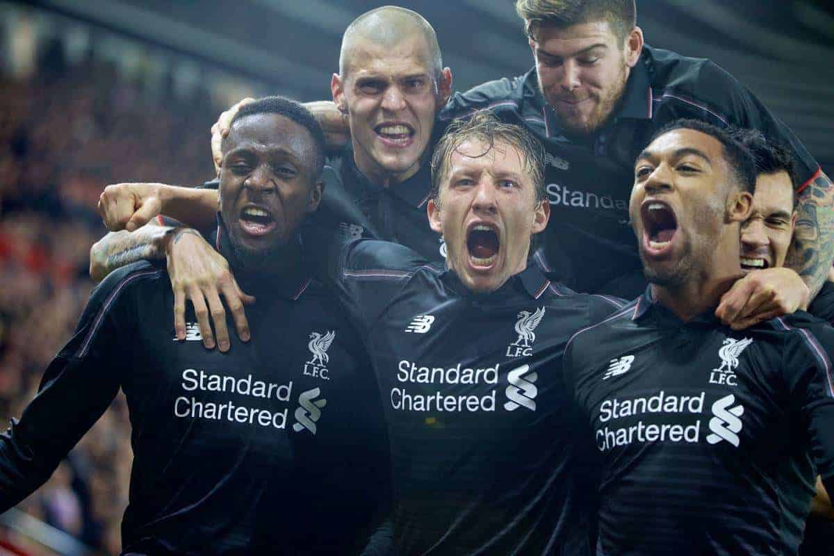 SOUTHAMPTON, ENGLAND - Wednesday, December 2, 2015: Liverpool's Divock Origi celebrates scoring the fourth goal against Southampton with team-mates Martin Skrtel, Lucas Leiva, Jordon Ibe, Alberto Moreno and Dejan Lovren during the Football League Cup Quarter-Final match at St. Mary's Stadium. (Pic by David Rawcliffe/Propaganda)