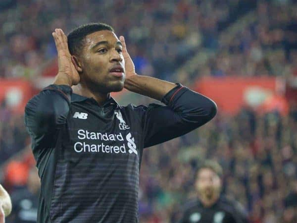 SOUTHAMPTON, ENGLAND - Wednesday, December 2, 2015: Liverpool's Jordon Ibe celebrates scoring the fifth goal against Southampton during the Football League Cup Quarter-Final match at St. Mary's Stadium. (Pic by David Rawcliffe/Propaganda)