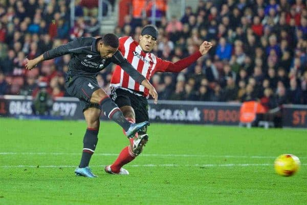 SOUTHAMPTON, ENGLAND - Wednesday, December 2, 2015: Liverpool's Jordon Ibe scores the fifth goal against Southampton during the Football League Cup Quarter-Final match at St. Mary's Stadium. (Pic by David Rawcliffe/Propaganda)