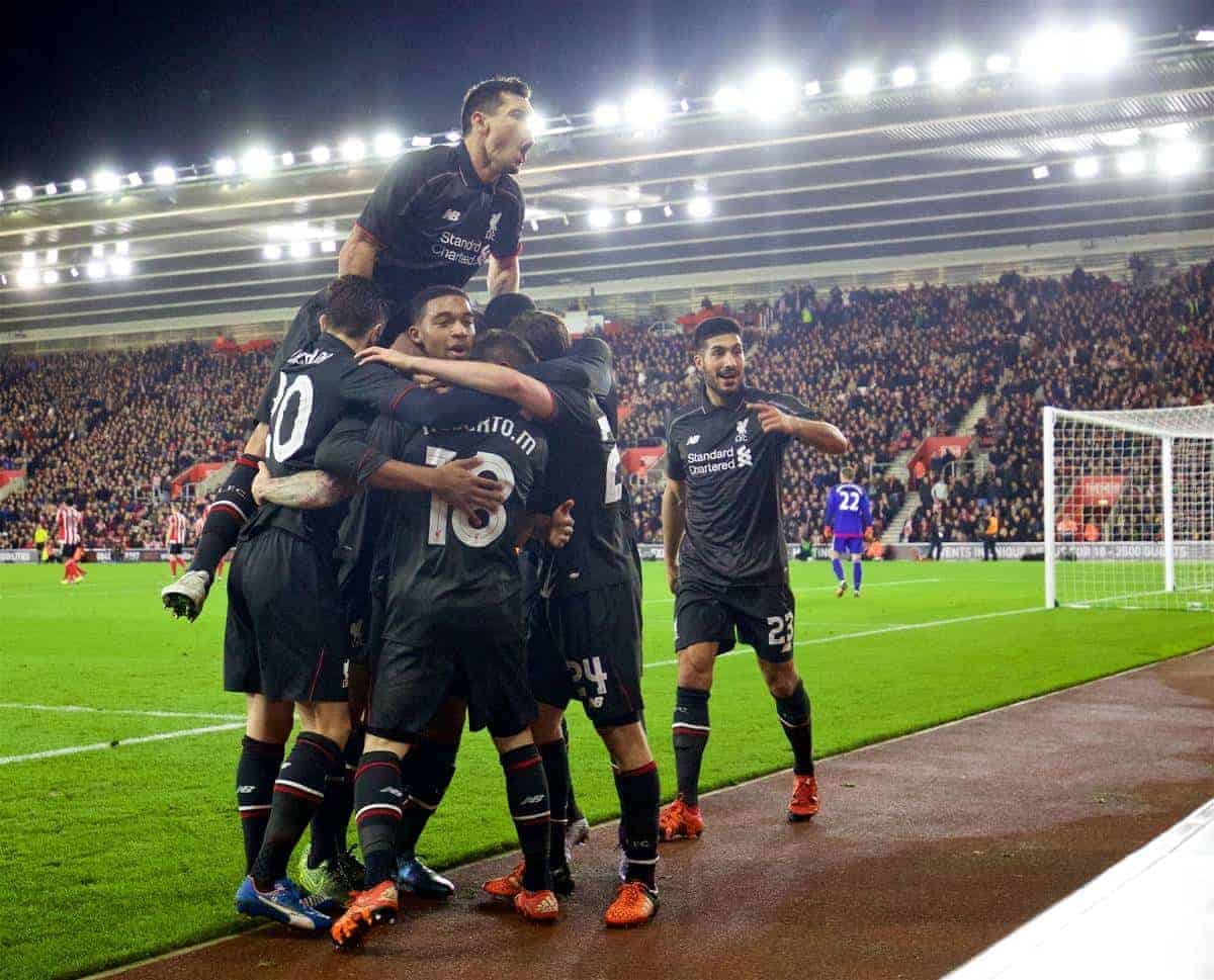 SOUTHAMPTON, ENGLAND - Wednesday, December 2, 2015: Liverpool's Jordon Ibe celebrates scoring the fifth goal against Southampton with team-mates during the Football League Cup Quarter-Final match at St. Mary's Stadium. (Pic by David Rawcliffe/Propaganda)