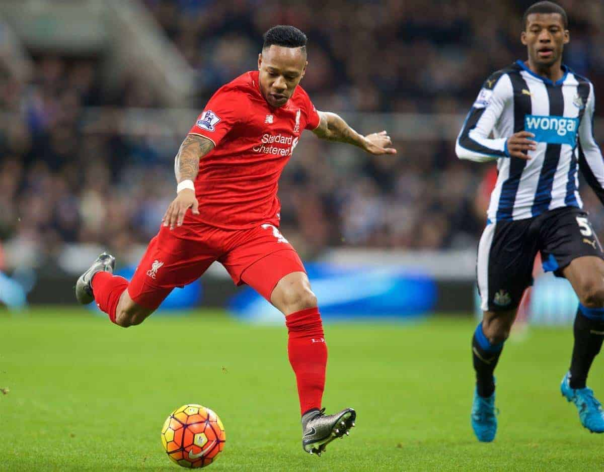 NEWCASTLE-UPON-TYNE, ENGLAND - Sunday, December 6, 2015: Liverpool's Nathaniel Clyne in action against Newcastle United during the Premier League match at St. James' Park. (Pic by David Rawcliffe/Propaganda)
