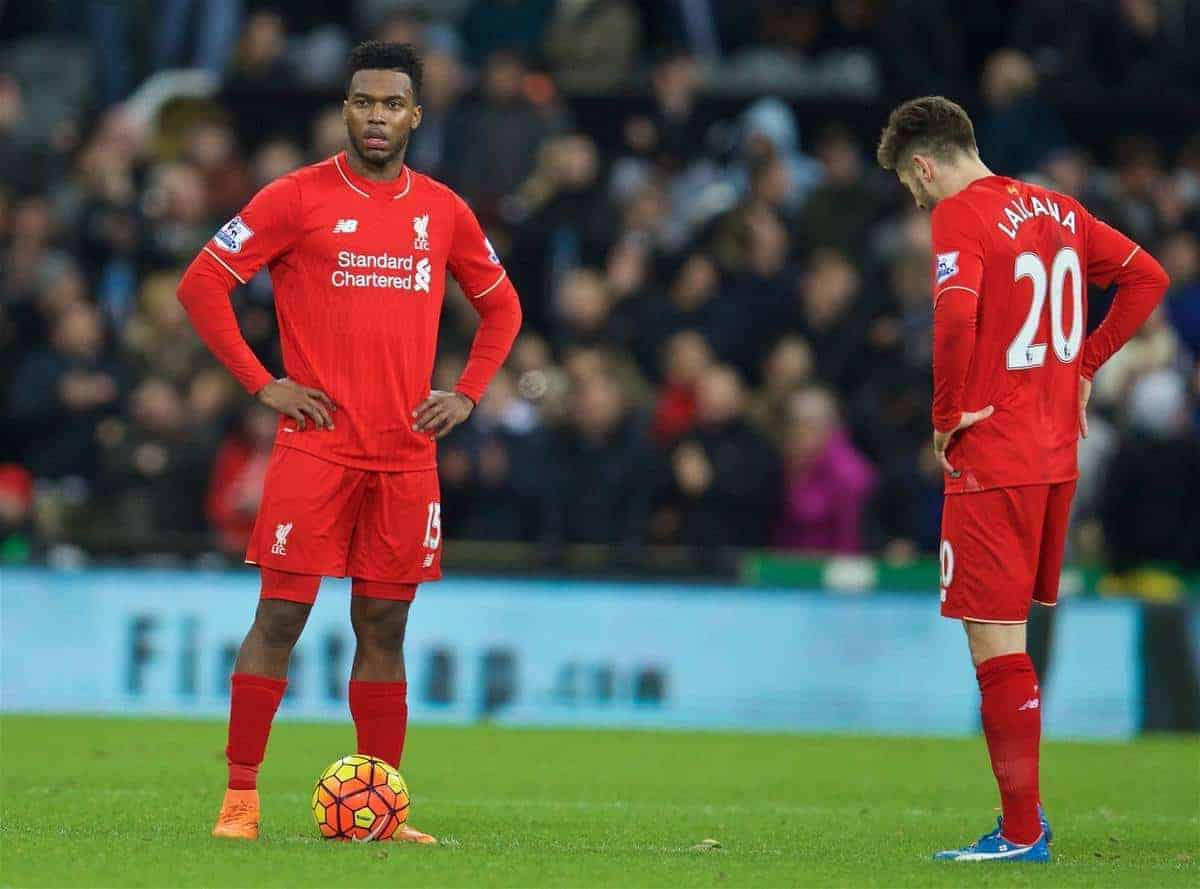 NEWCASTLE-UPON-TYNE, ENGLAND - Sunday, December 6, 2015: Liverpool's Daniel Sturridge looks dejected as Newcastle United score the second goal during the Premier League match at St. James' Park. (Pic by David Rawcliffe/Propaganda)