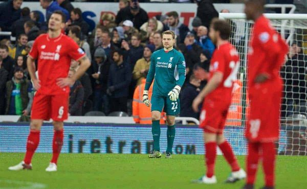 NEWCASTLE-UPON-TYNE, ENGLAND - Sunday, December 6, 2015: Liverpool's goalkeeper Simon Mignolet looks dejected as Newcastle United score the second goal during the Premier League match at St. James' Park. (Pic by David Rawcliffe/Propaganda)