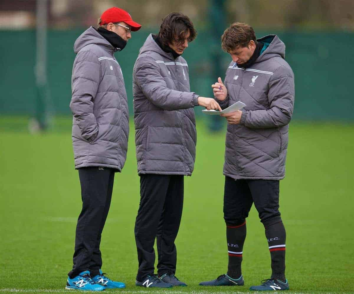LIVERPOOL, ENGLAND - Wednesday, December 9, 2015: Liverpool's manager Jürgen Klopp with assistant manager Zeljko Buvac and first team coach Peter Krawietz during a training session at Melwood Training Ground ahead of the UEFA Europa League Group Stage Group B match against FC Sion. (Pic by David Rawcliffe/Propaganda)