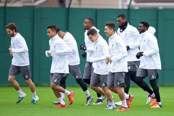 LIVERPOOL, ENGLAND - Wednesday, December 9, 2015: Liverpool's Joe Allen, Allan Rodrigues de Sousa, Lucas Leiva, Philippe Coutinho Correia, Roberto Firmino, Christian Benteke and Kolo Toure during a training session at Melwood Training Ground ahead of the UEFA Europa League Group Stage Group B match against FC Sion. (Pic by David Rawcliffe/Propaganda)