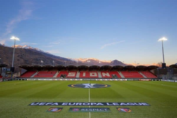 LIVERPOOL, ENGLAND - Thursday, December 10, 2015: A general view of FC Sion's Stade de Tourbillon before the UEFA Europa League Group Stage Group B match against Liverpool. (Pic by David Rawcliffe/Propaganda)