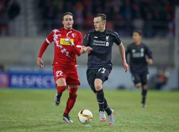 LIVERPOOL, ENGLAND - Thursday, December 10, 2015: Liverpool's Brad Smith in action against FC Sion's Vincent Ruefli during the UEFA Europa League Group Stage Group B match at Stade de Tourbillon. (Pic by David Rawcliffe/Propaganda)