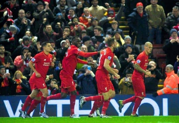 LIVERPOOL, ENGLAND - Sunday, December 13, 2015: Liverpool's captain Jordan Henderson and teammates celebrates scoring the first goal against West Bromwich Albion during the Premier League match at Anfield. (Pic by James Maloney/Propaganda)