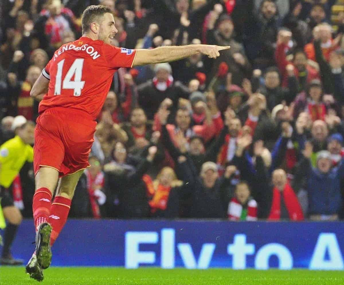LIVERPOOL, ENGLAND - Sunday, December 13, 2015: Liverpool's captain Jordan Henderson celebrates scoring the first goal against West Bromwich Albion during the Premier League match at Anfield. (Pic by James Maloney/Propaganda)