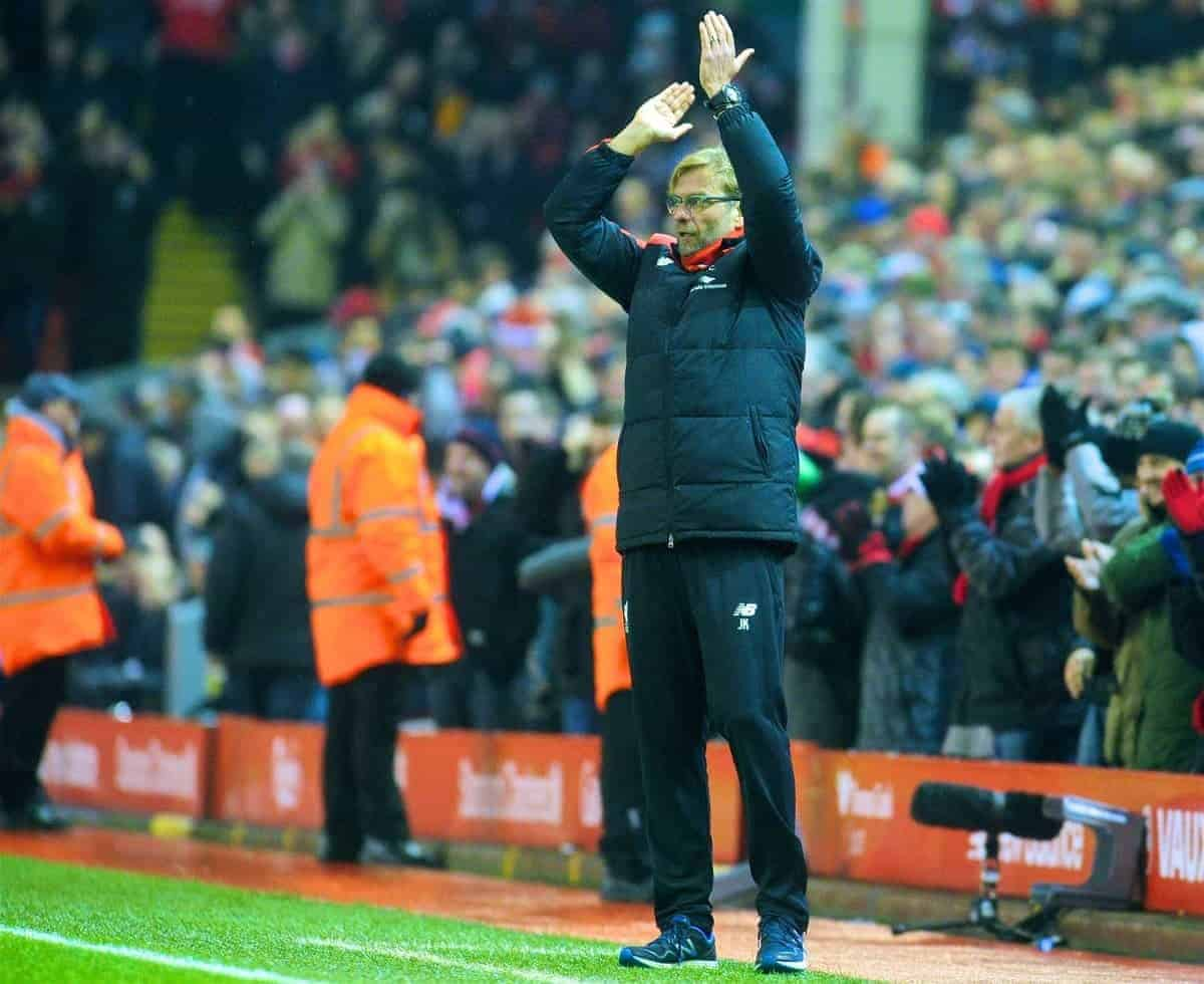 LIVERPOOL, ENGLAND - Sunday, December 13, 2015: Liverpool's manager Jürgen Klopp celebrates the first goal against West Bromwich Albion during the Premier League match at Anfield. (Pic by James Maloney/Propaganda)