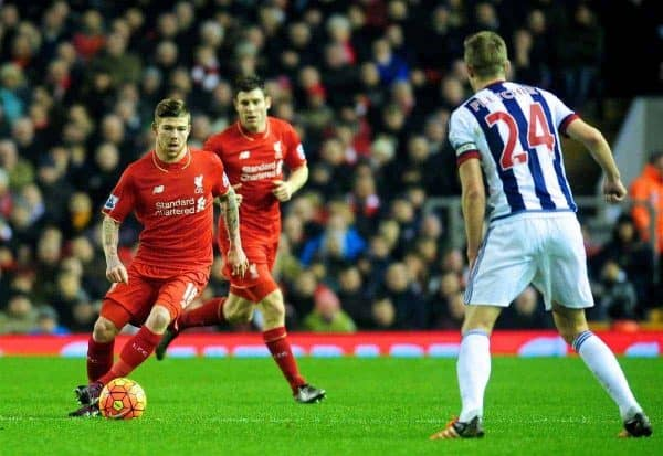 LIVERPOOL, ENGLAND - Sunday, December 13, 2015: Liverpool's Alberto Moreno in action against West Bromwich Albion's captain Darren Fletcher during the Premier League match at Anfield. (Pic by James Maloney/Propaganda)