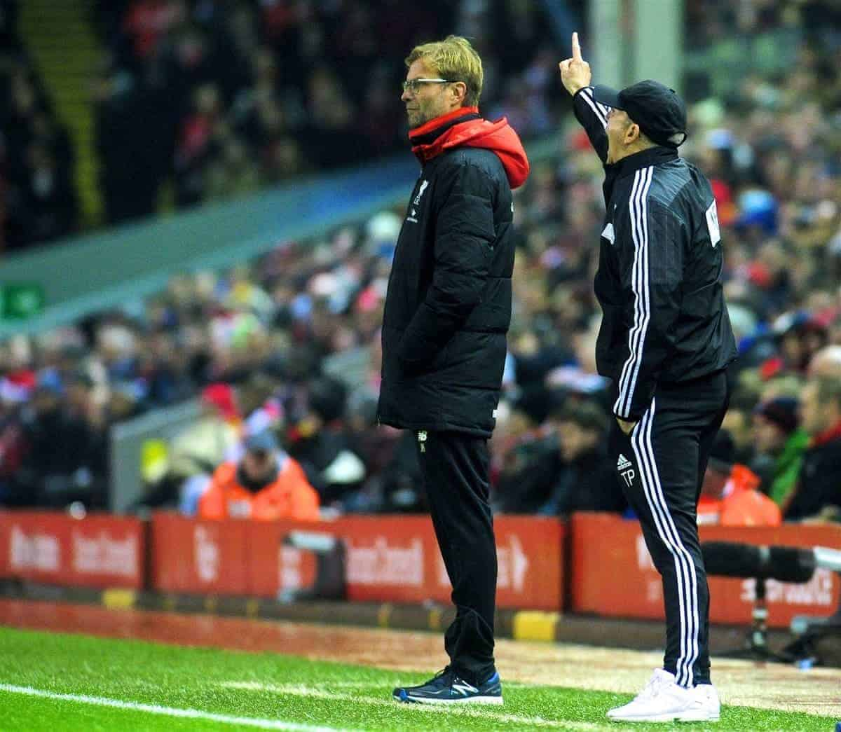 LIVERPOOL, ENGLAND - Sunday, December 13, 2015: Liverpool's manager Jürgen Klopp and West Bromwich Albion head coach Tony Pulis uring the Premier League match against West Bromwich Albion at Anfield. (Pic by James Maloney/Propaganda)
