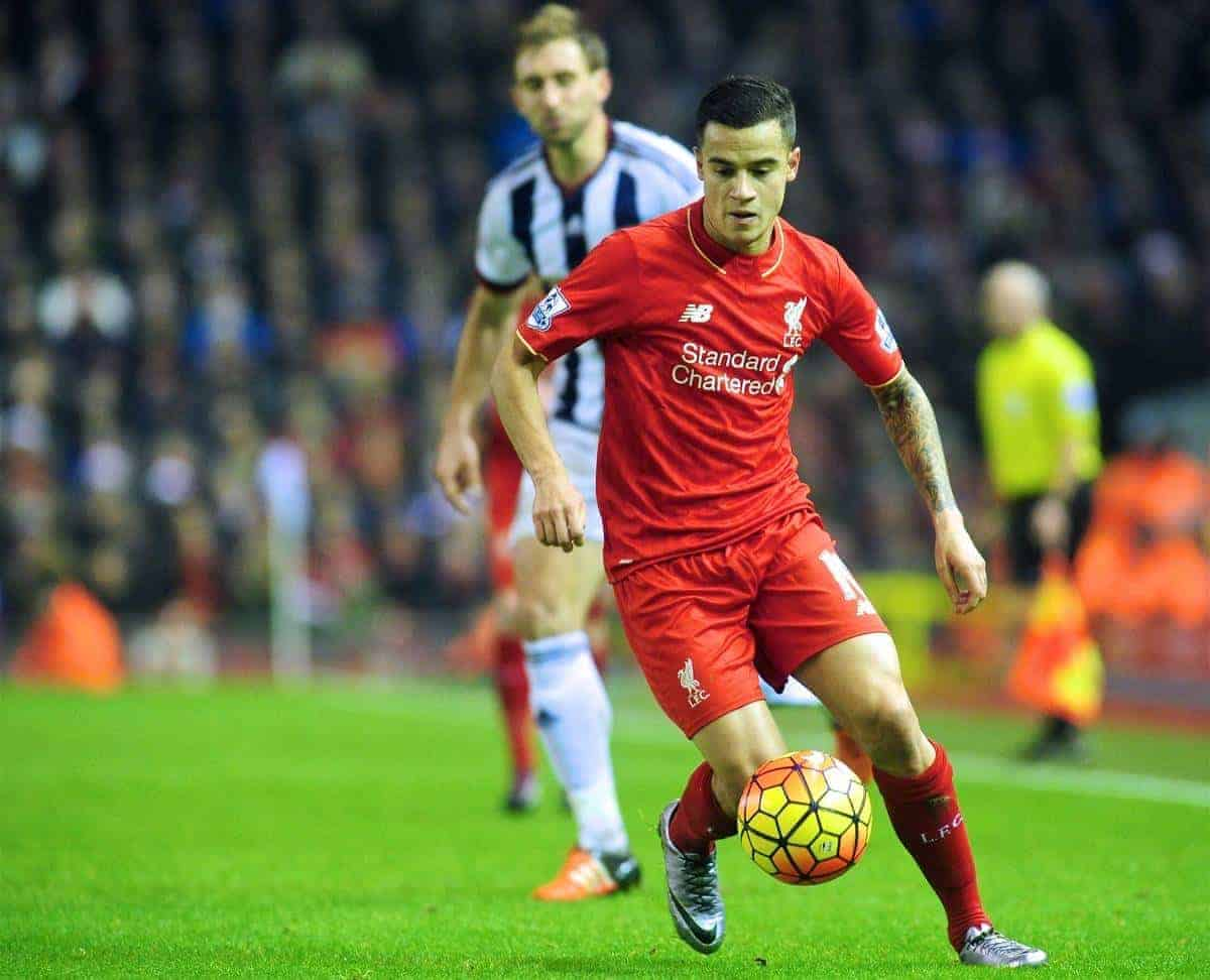 LIVERPOOL, ENGLAND - Sunday, December 13, 2015: Liverpool's Philippe Coutinho Correia in action during the Premier League match against West Bromwich Albion at Anfield. (Pic by James Maloney/Propaganda)