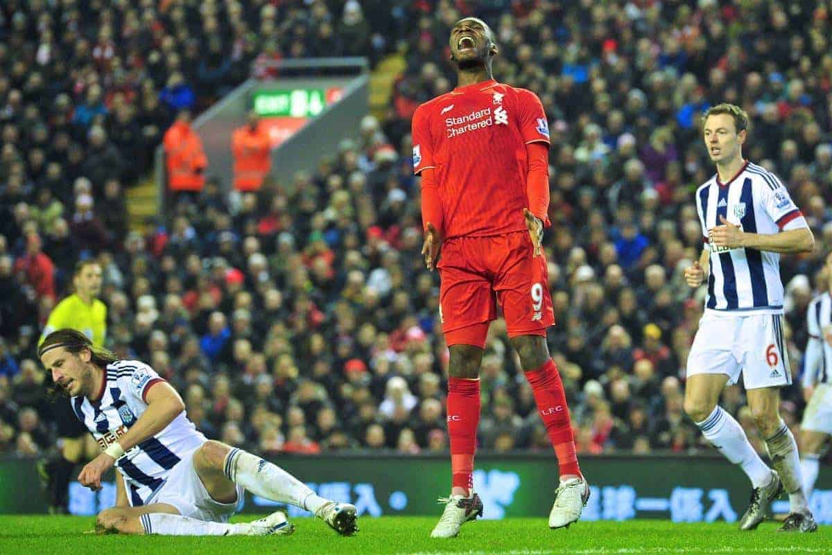LIVERPOOL, ENGLAND - Sunday, December 13, 2015: Liverpool's Christian Benteke looks dejected after missing a chance in during the Premier League match against West Bromwich Albion at Anfield. (Pic by James Maloney/Propaganda)