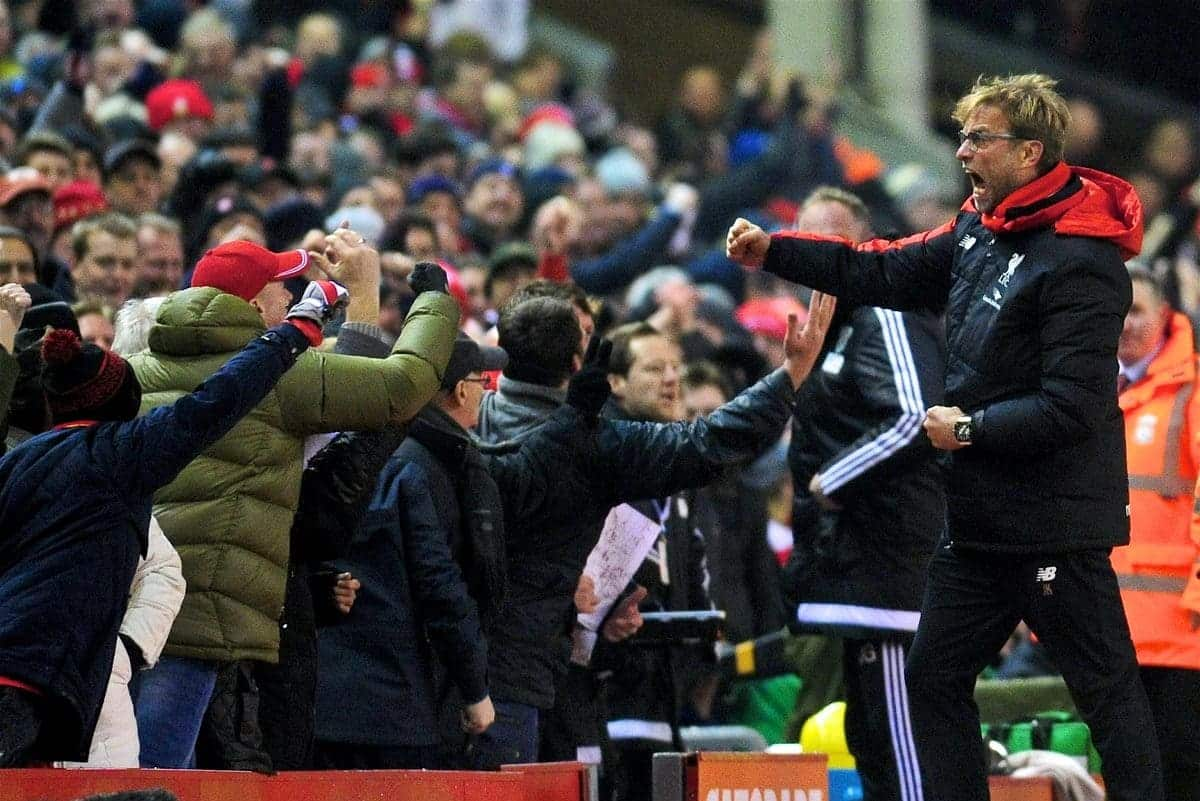 LIVERPOOL, ENGLAND - Sunday, December 13, 2015: Liverpool's manager Jürgen Klopp celebrates the equaliser goal during the Premier League match against West Bromwich Albion at Anfield. (Pic by James Maloney/Propaganda)