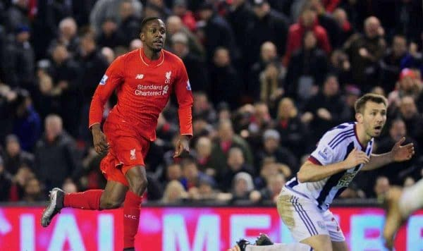 LIVERPOOL, ENGLAND - Sunday, December 13, 2015: Liverpool's Divock Origi scores the equaliser goal during the Premier League match against West Bromwich Albion at Anfield. (Pic by James Maloney/Propaganda)