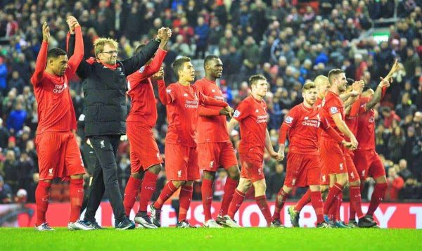 LIVERPOOL, ENGLAND - Sunday, December 13, 2015: Liverpool's manager Jürgen Klopp and players thanking supporters after the Premier League match against West Bromwich Albion at Anfield. (Pic by James Maloney/Propaganda)