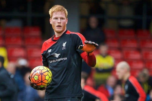 WATFORD, ENGLAND - Sunday, December 20, 2015: Liverpool's goalkeeper Adam Bogdan warms up before the Premier League match against Watford at Vicarage Road. (Pic by David Rawcliffe/Propaganda)
