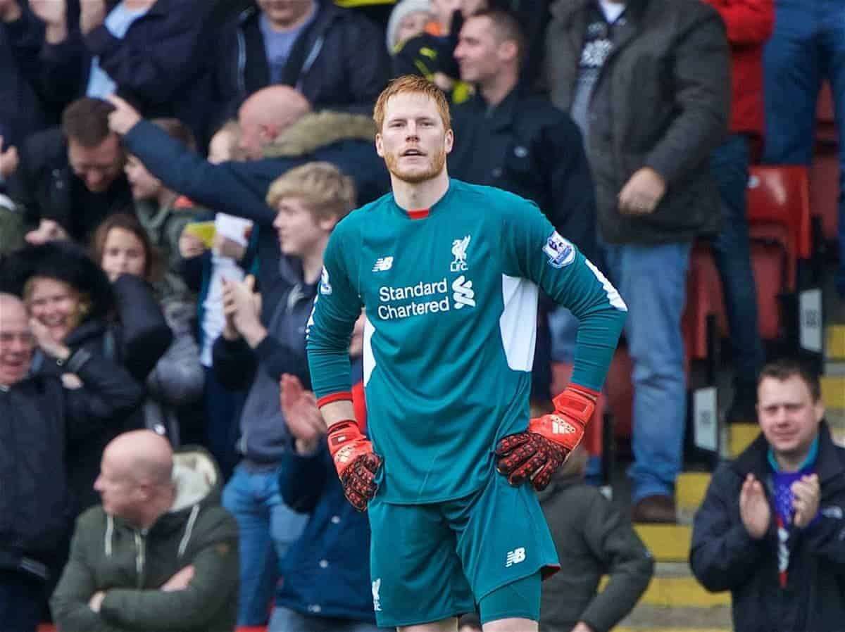 WATFORD, ENGLAND - Sunday, December 20, 2015: Liverpool's goalkeeper Adam Bogdan looks dejected as Watford score from his mistake during the Premier League match at Vicarage Road. (Pic by David Rawcliffe/Propaganda)