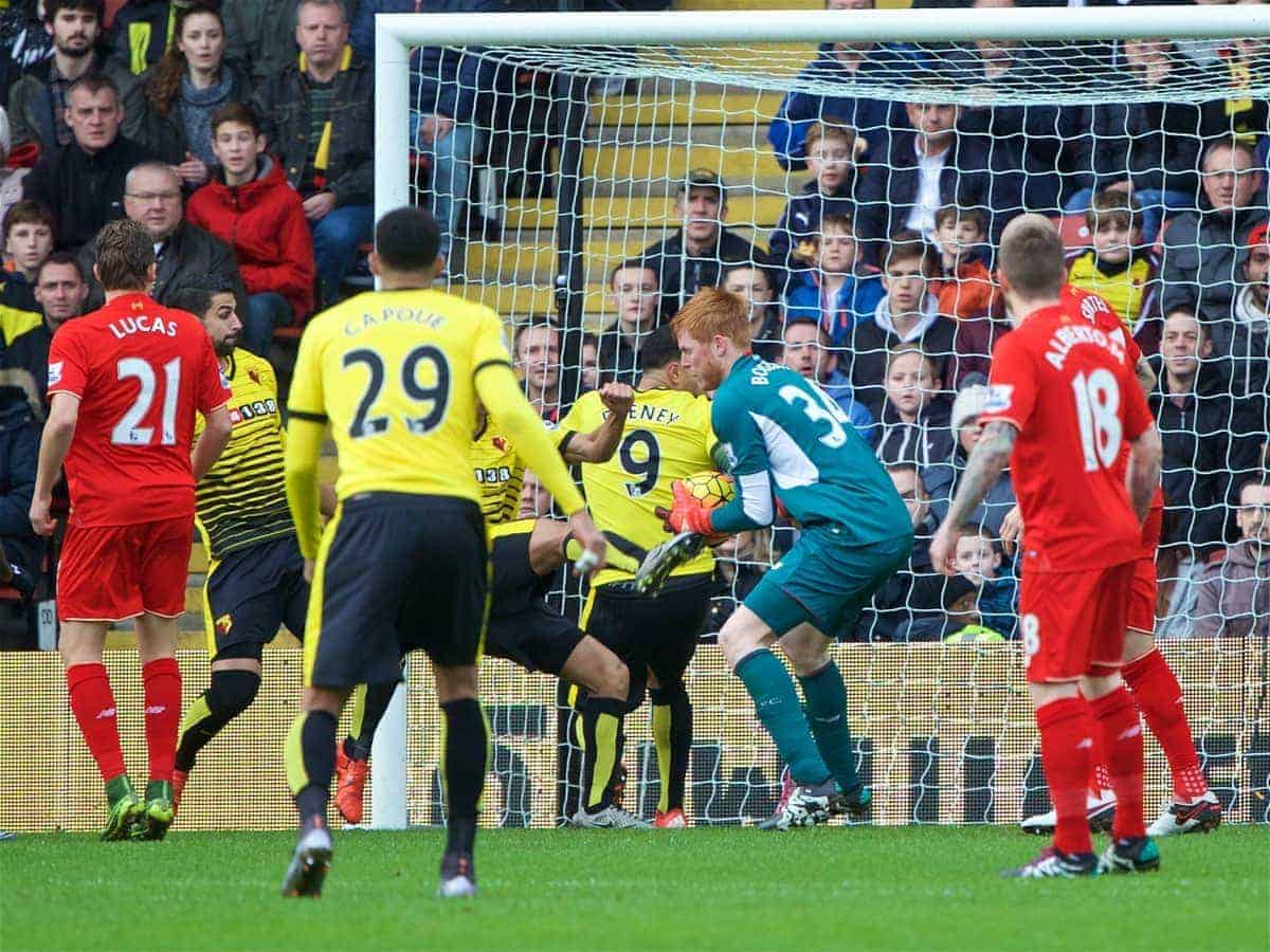 WATFORD, ENGLAND - Sunday, December 20, 2015: Liverpool's goalkeeper Adam Bogdan fails to catch the ball cleanly leading to Watford's opening goal by captain Troy Deeney during the Premier League match at Vicarage Road. (Pic by David Rawcliffe/Propaganda)