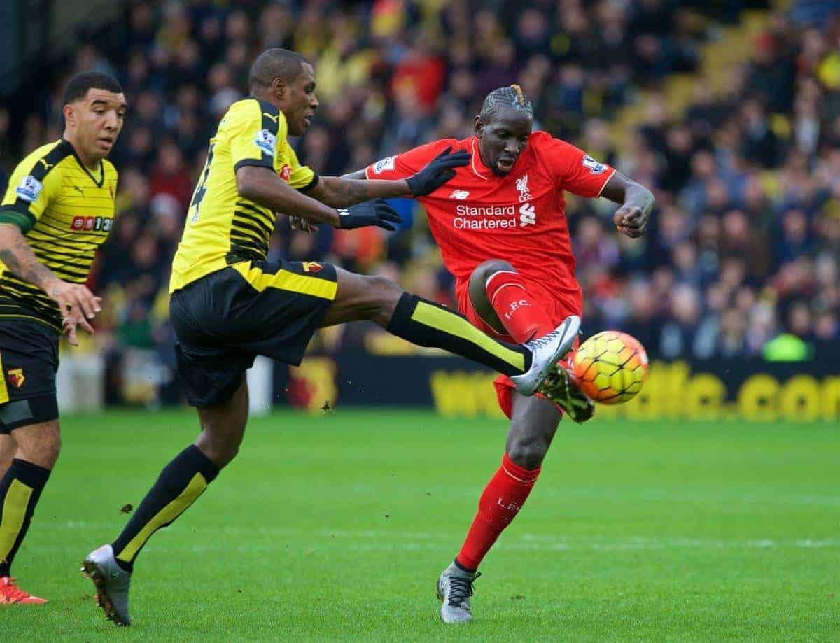 WATFORD, ENGLAND - Sunday, December 20, 2015: Liverpool's Mamadou Sakho in action against Watford's George Byers during the Premier League match at Vicarage Road. (Pic by David Rawcliffe/Propaganda)