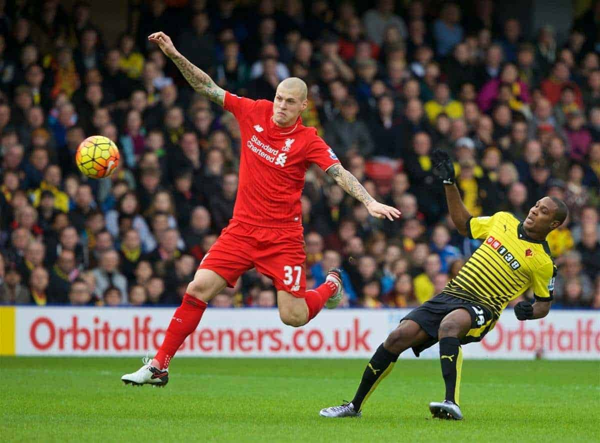 WATFORD, ENGLAND - Sunday, December 20, 2015: Liverpool's Martin Skrtel in action against Watford during the Premier League match at Vicarage Road. (Pic by David Rawcliffe/Propaganda)