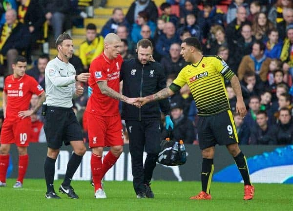WATFORD, ENGLAND - Sunday, December 20, 2015: Liverpool's Martin Skrtel shakes hands with Watford's captain Troy Deeney as he goes off injured during the Premier League match at Vicarage Road. (Pic by David Rawcliffe/Propaganda)