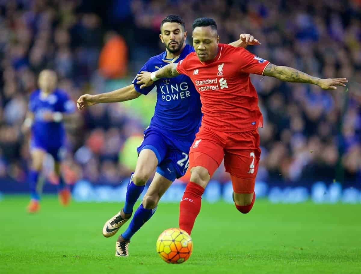 LIVERPOOL, ENGLAND - Boxing Day, Saturday, December 26, 2015: Liverpool's Nathaniel Clyne in action against Leicester City's Riyad Mahrez during the Premier League match at Anfield. (Pic by David Rawcliffe/Propaganda)