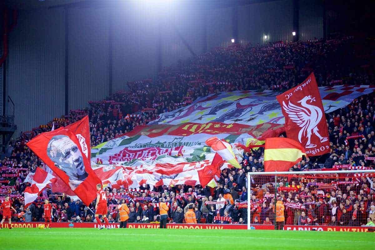 LIVERPOOL, ENGLAND - Boxing Day, Saturday, December 26, 2015: Flags and banners on the Spion Kop before the Premier League match against Leicester City at Anfield. (Pic by David Rawcliffe/Propaganda)