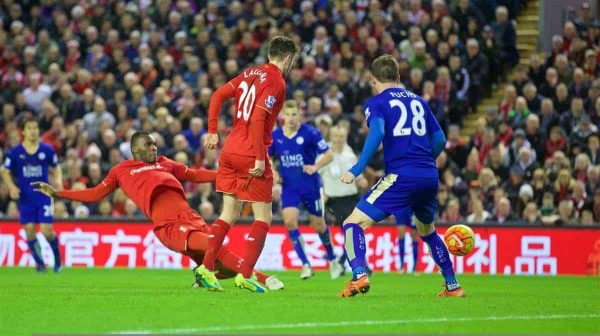 LIVERPOOL, ENGLAND - Boxing Day, Saturday, December 26, 2015: Liverpool's Christian Benteke scores the first goal against Leicester City during the Premier League match at Anfield. (Pic by David Rawcliffe/Propaganda)