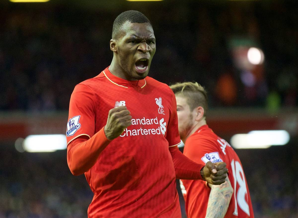 LIVERPOOL, ENGLAND - Boxing Day, Saturday, December 26, 2015: Liverpool's Christian Benteke celebrates scoring the first goal against Leicester City during the Premier League match at Anfield. (Pic by David Rawcliffe/Propaganda)