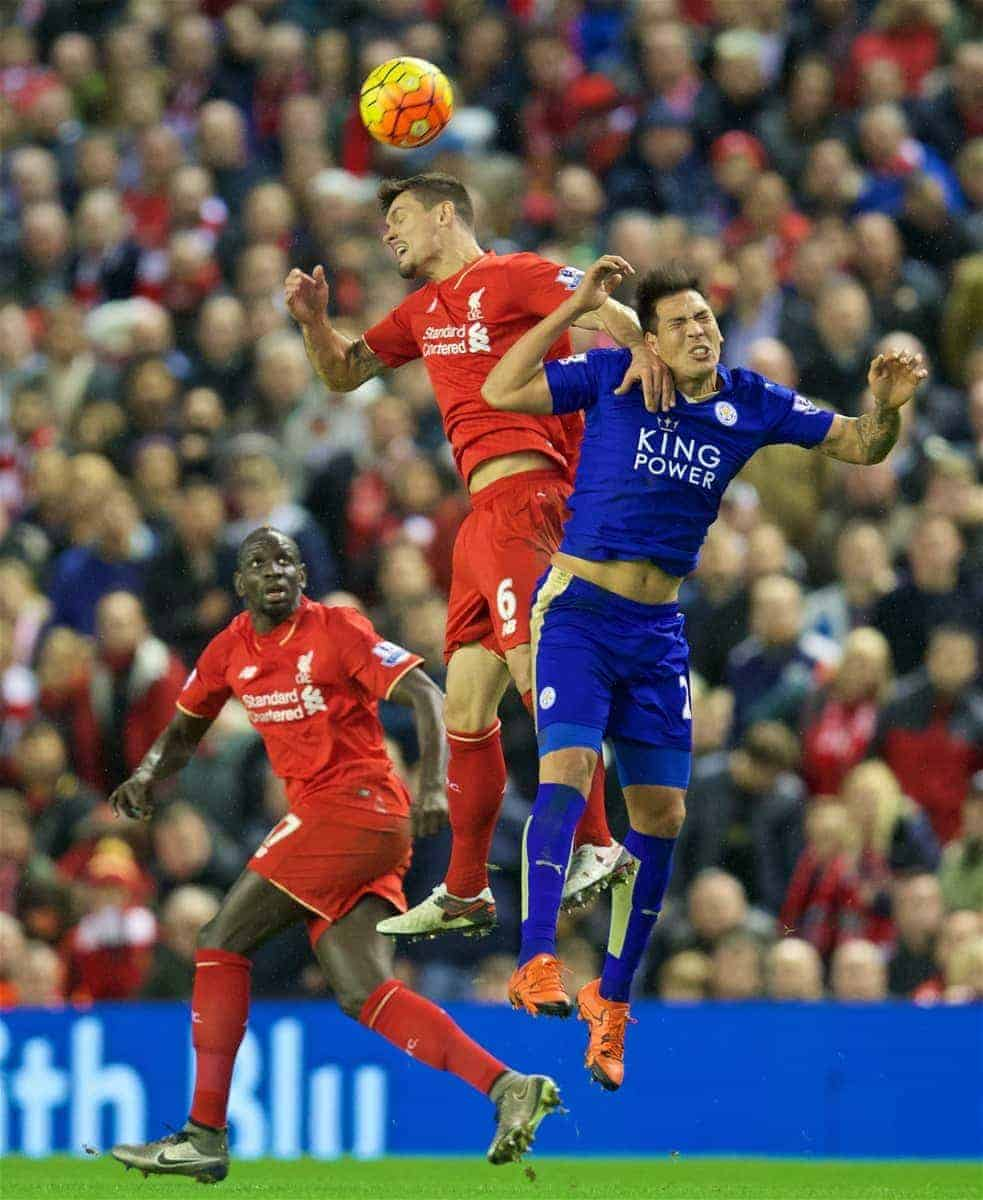 LIVERPOOL, ENGLAND - Boxing Day, Saturday, December 26, 2015: Liverpool's Dejan Lovren in action against Leicester City's Leonardo Ulloa during the Premier League match at Anfield. (Pic by David Rawcliffe/Propaganda)