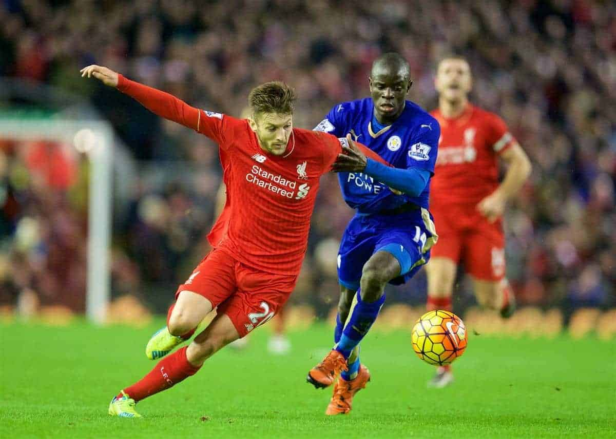 LIVERPOOL, ENGLAND - Boxing Day, Saturday, December 26, 2015: Liverpool's Adam Lallana in action against Leicester City's N'Golo Kante during the Premier League match at Anfield. (Pic by David Rawcliffe/Propaganda)