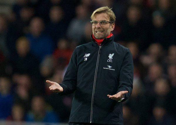 SUNDERLAND, ENGLAND - Wednesday, December 30, 2015: Liverpool's manager Jürgen Klopp during the Premier League match against Sunderland at the Stadium of Light. (Pic by David Rawcliffe/Propaganda)