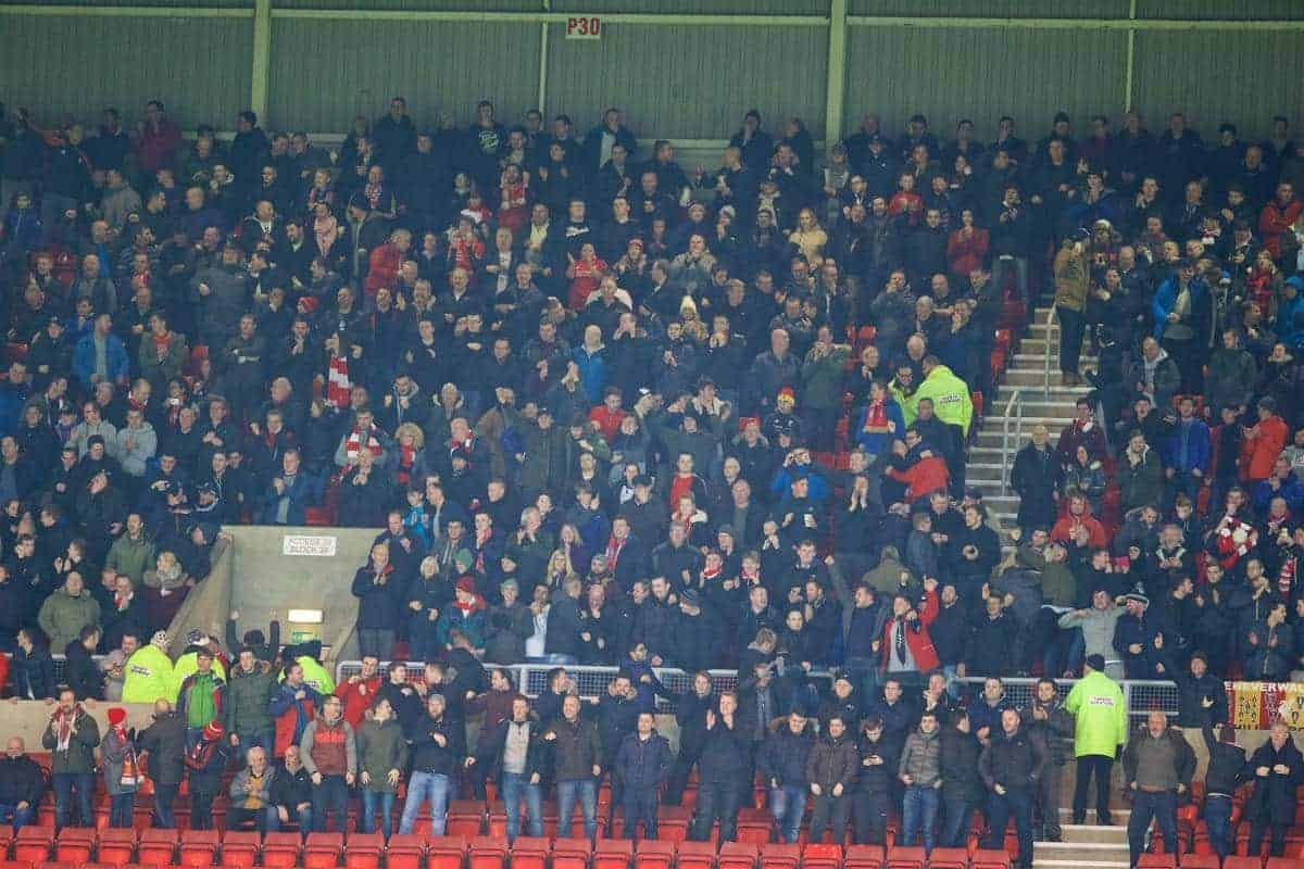 SUNDERLAND, ENGLAND - Wednesday, December 30, 2015: Liverpool supporters celebrate the first goal against Sunderland during the Premier League match at the Stadium of Light. (Pic by David Rawcliffe/Propaganda)
