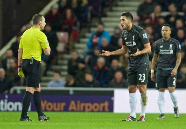 SUNDERLAND, ENGLAND - Wednesday, December 30, 2015: Liverpool's Emre Can pleads for leniency from referee Kevin Friend against Sunderland during the Premier League match at the Stadium of Light. (Pic by David Rawcliffe/Propaganda)