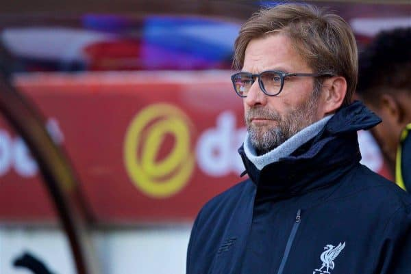 SUNDERLAND, ENGLAND - Monday, January 2, 2017: Liverpool's manager Jürgen Klopp before the FA Premier League match against Sunderland at the Stadium of Light. (Pic by David Rawcliffe/Propaganda)