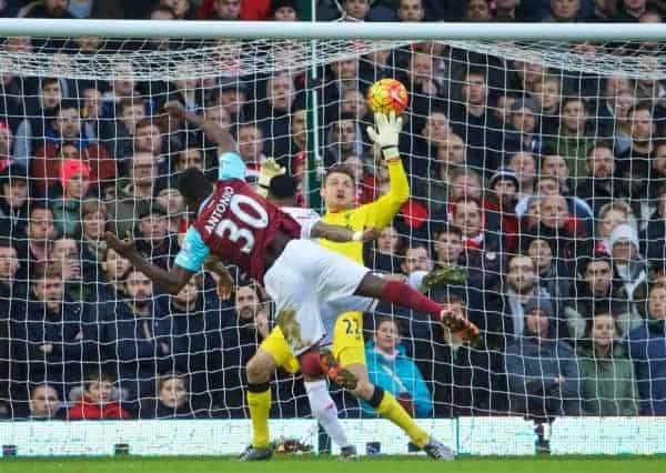 LONDON, ENGLAND - Saturday, January 2, 2016: West Ham United's Michail Antonio scores the first goal against Liverpool during the Premier League match at Upton Park. (Pic by David Rawcliffe/Propaganda)