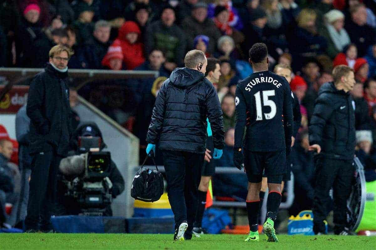 SUNDERLAND, ENGLAND - Monday, January 2, 2017: Liverpool's Daniel Sturridge goes off with an injury during the FA Premier League match against Sunderland at the Stadium of Light. (Pic by David Rawcliffe/Propaganda)