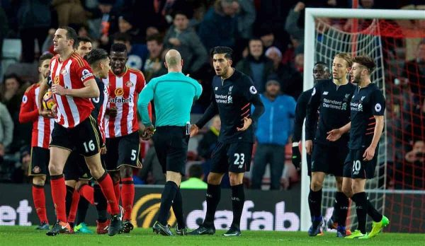 SUNDERLAND, ENGLAND - Monday, January 2, 2017: Liverpool's Emre Can looks confused as referee Anthony Taylor awards Sunderland a SECOND penalty during the FA Premier League match at the Stadium of Light. (Pic by David Rawcliffe/Propaganda)