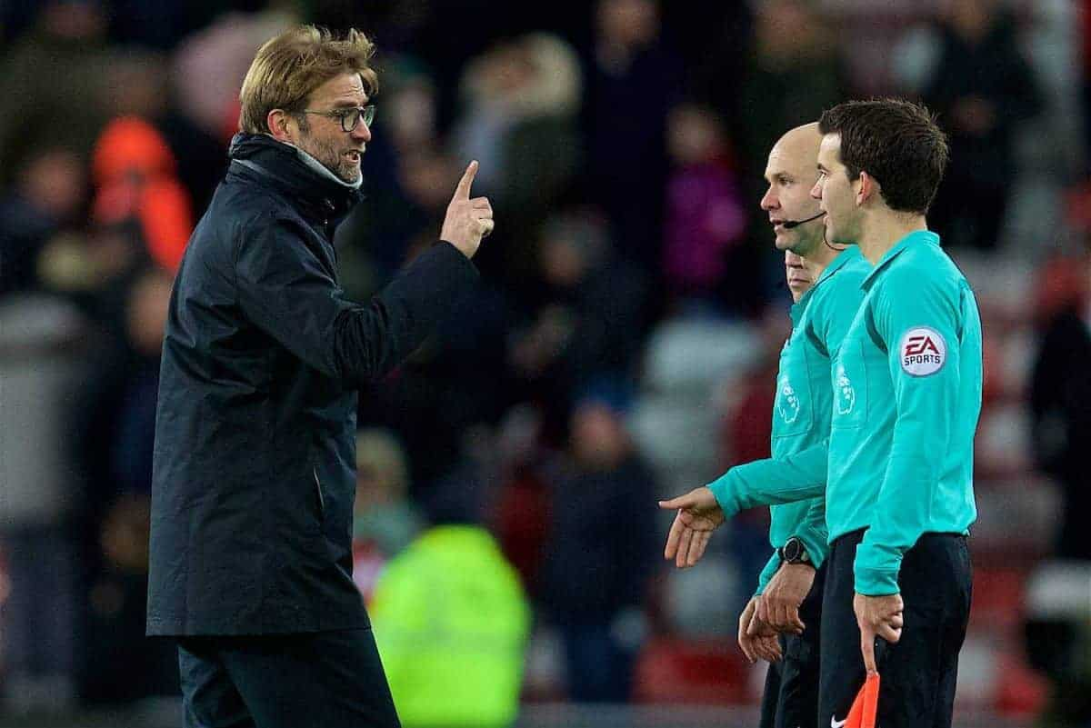 SUNDERLAND, ENGLAND - Monday, January 2, 2017: Liverpool's manager Jürgen Klopp argues with referee Anthony Taylor after he awarded Sunderland two penalties to give them two equalising goals for a 2-2 draw during the FA Premier League match at the Stadium of Light. (Pic by David Rawcliffe/Propaganda)