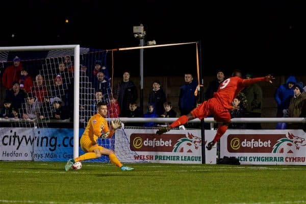 BANGOR, WALES - Wednesday, January 4, 2017: Liverpool's Toni Gomes scores the second goal against Bangor City's goalkeeper Connor Roberts during an Under-23 friendly match at Bangor University Stadium. (Pic by David Rawcliffe/Propaganda)