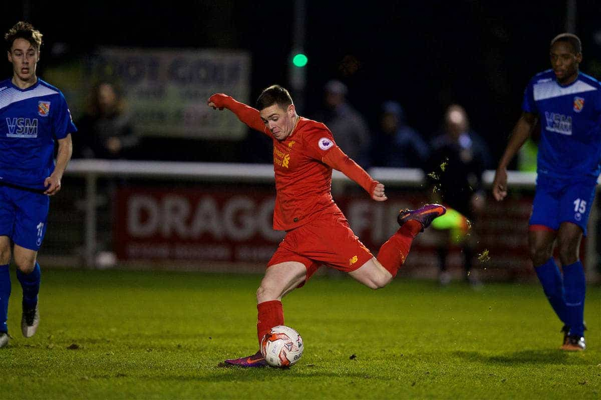 BANGOR, WALES - Wednesday, January 4, 2017: Liverpool's substitute Jack Dunn scores the sixth goal against Bangor City, completing his hat-trick, during an Under-23 friendly match at Bangor University Stadium. (Pic by David Rawcliffe/Propaganda)
