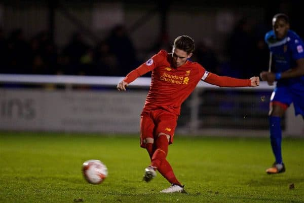 BANGOR, WALES - Wednesday, January 4, 2017: Liverpool's captain Harry Wilson sees his penalty saved, but scores from the rebound to score his side's fourth goal against Bangor City during an Under-23 friendly match at Bangor University Stadium. (Pic by David Rawcliffe/Propaganda)
