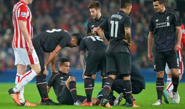 STOKE-ON-TRENT, ENGLAND - Tuesday, January 5, 2016: Liverpool's Philippe Coutinho Correia goes down injured against Stoke City during the Football League Cup Semi-Final 1st Leg match at the Britannia Stadium. (Pic by David Rawcliffe/Propaganda)
