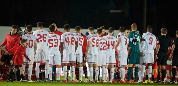 EXETER, ENGLAND - Friday, January 8, 2016: Liverpool's young players line-up to face Exeter City during the FA Cup 3rd Round match at St. James Park. (Pic by David Rawcliffe/Propaganda)