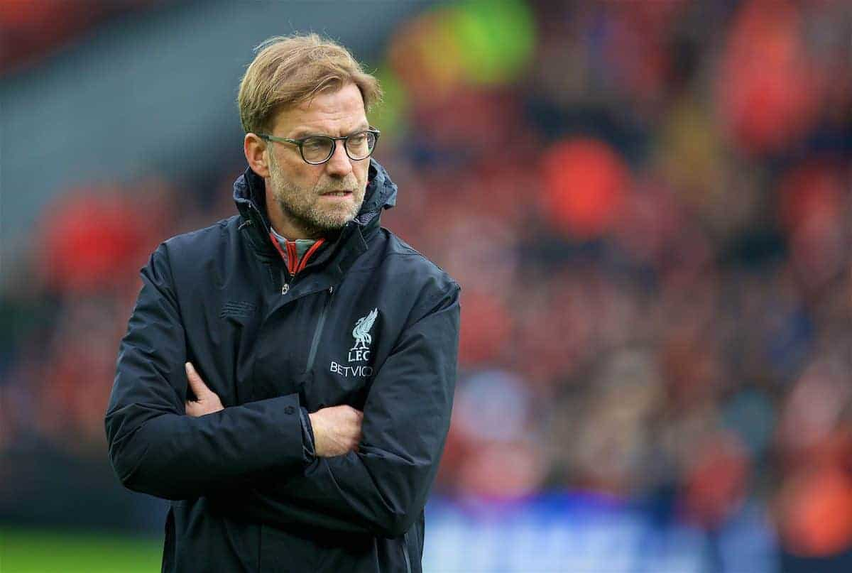 LIVERPOOL, ENGLAND - Saturday, January 7, 2017: Liverpool's manager Jürgen Klopp before the FA Cup 3rd Round match against Plymouth Argyle at Anfield. (Pic by David Rawcliffe/Propaganda)