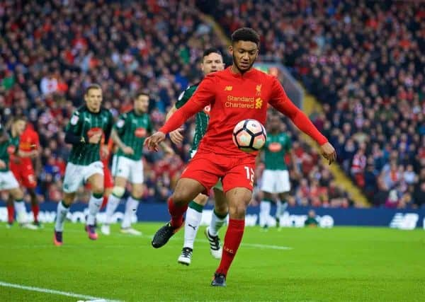 LIVERPOOL, ENGLAND - Saturday, January 7, 2017: Liverpool's Joe Gomez in action against Plymouth Argyle during the FA Cup 3rd Round match at Anfield. (Pic by David Rawcliffe/Propaganda)